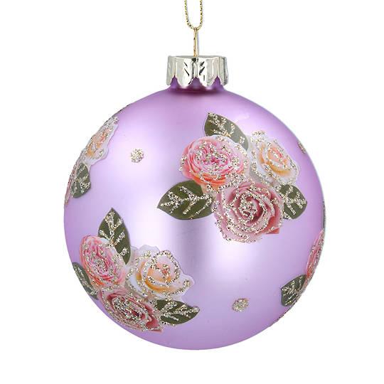 Glass Ball Matt Lilac, Pink Roses 8cm