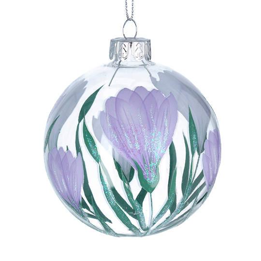 Glass Ball Clear, Lilac Crocus 8cm