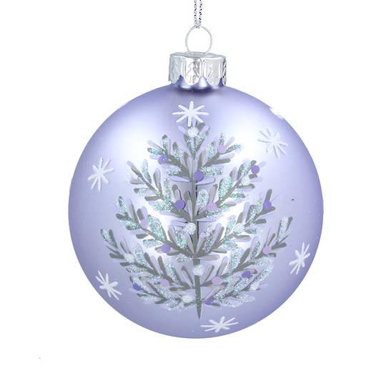 Glass Ball Matt Lilac, Silver Tree 8cm