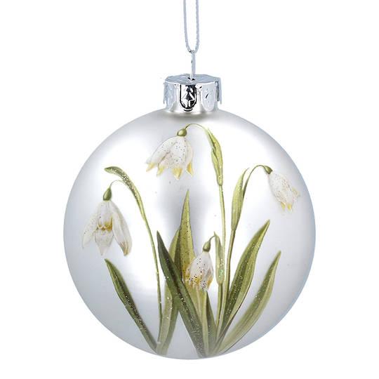 Glass Ball Matt White, Snowdrop 8cm
