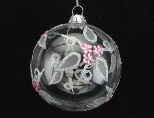 Glass Ball Clear, Pink Flowers 8cm