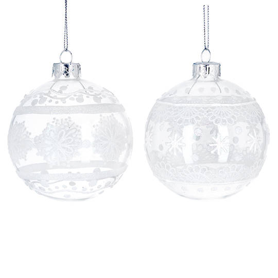 Glass Ball Clear, White Lace 8cm