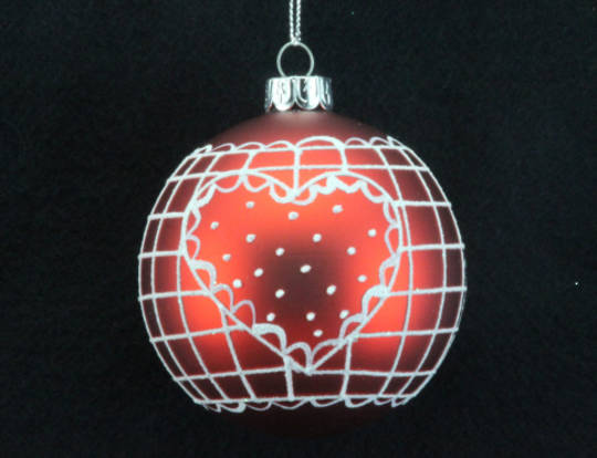 Glass Ball Matt Red, White Heart 8cm