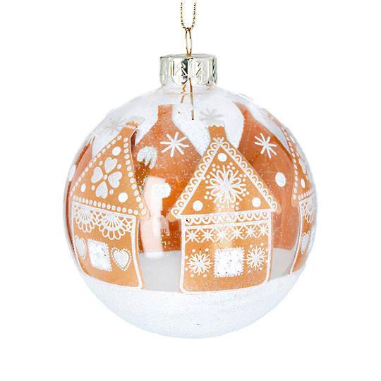 Glass Ball Clear, GingerBread House 8cm