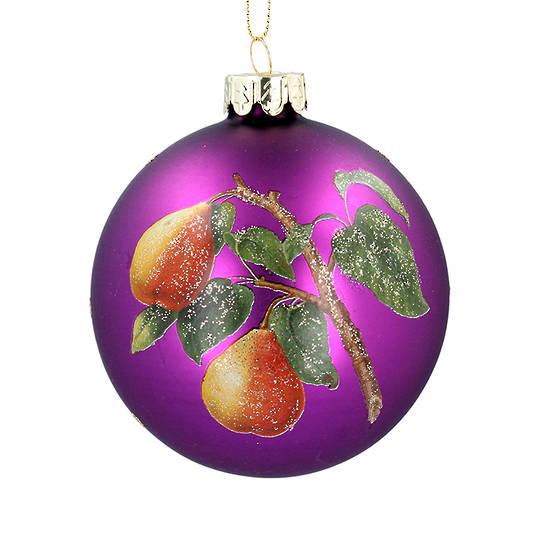 Glass Ball Matt Purple, Pear 8cm