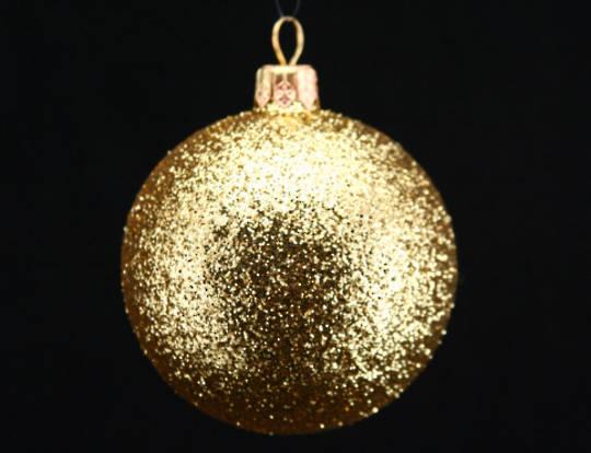 Plastic Ball, Gold Glitter 7cm