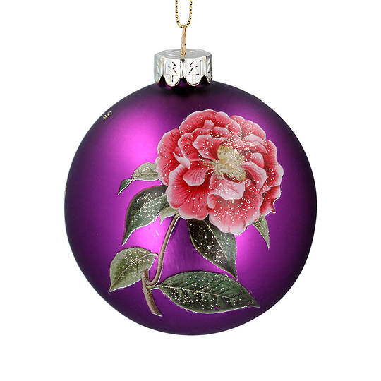 Glass Ball Matt Purple, Flower 8cm