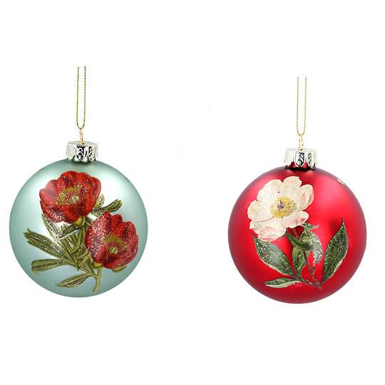 Glass Ball Matt Red or Green, Flower 8cm