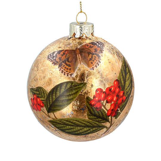 Glass Ball Gold, Butterfly 8cm