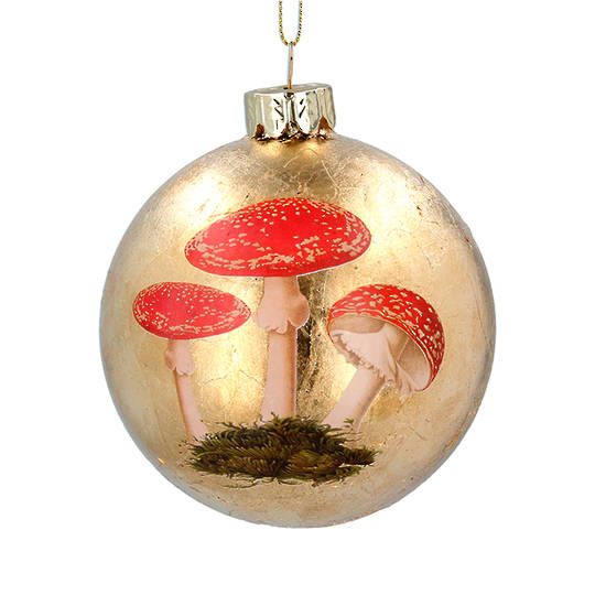 Glass Ball Gold, Toadstool 8cm