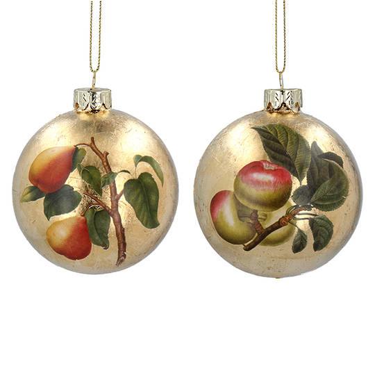Glass Ball Gold, Fruit 8cm