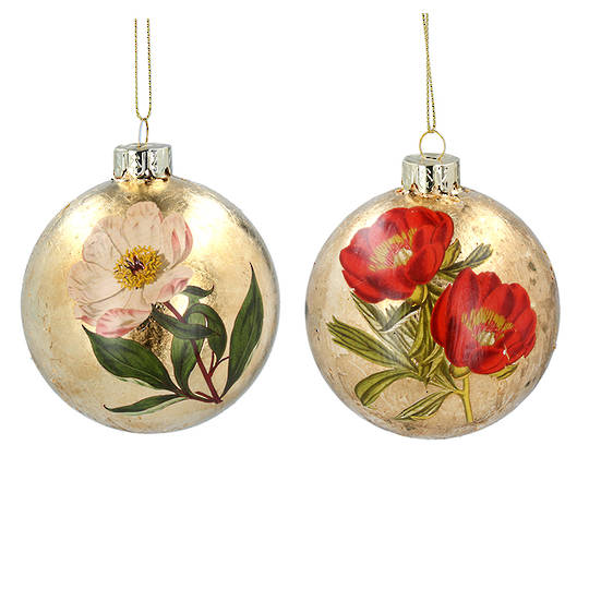Glass Ball Gold, Flower 8cm