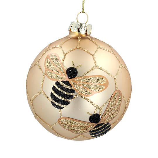Glass Ball Matt Gold, Bee 8cm