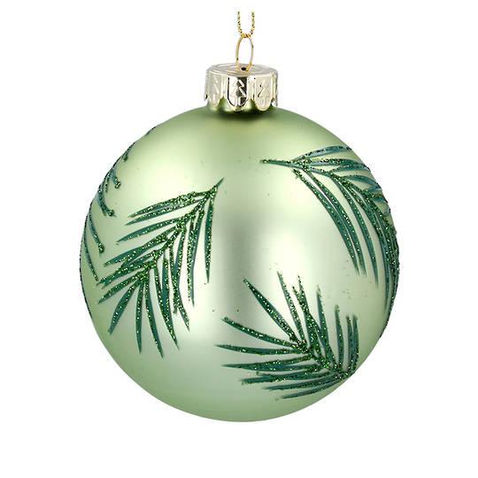 Glass Ball Matt Green, Green Leaf 8cm
