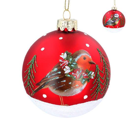 Glass Ball Matt Red, Winter Robin 8cm