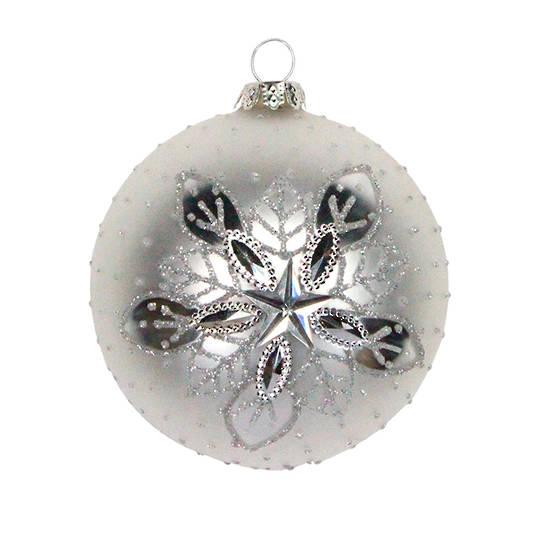 Glass Ball Matt White, Silver Snow Star 8cm