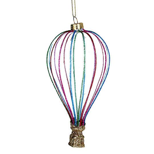 Glass Air Balloon, Colourful Strips 14cm