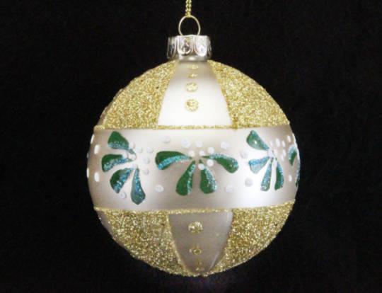 Glass Ball Gold, Miseltoe Band 8cm