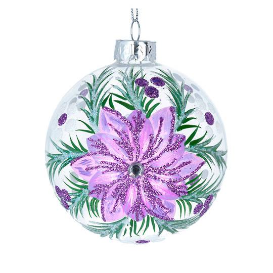 Glass Ball Clear, Lilac Flower 8cm