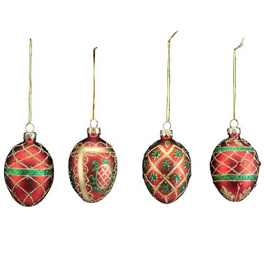 Glass Egg Red, Green and Gold 6cm