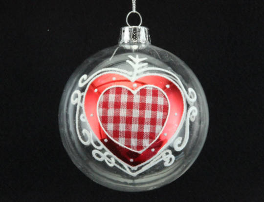 Glass Ball Clear, Gingham Heart 8cm