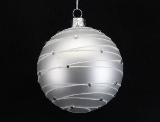 Glass Ball Matt White, Diamante Astral Bands 8cm
