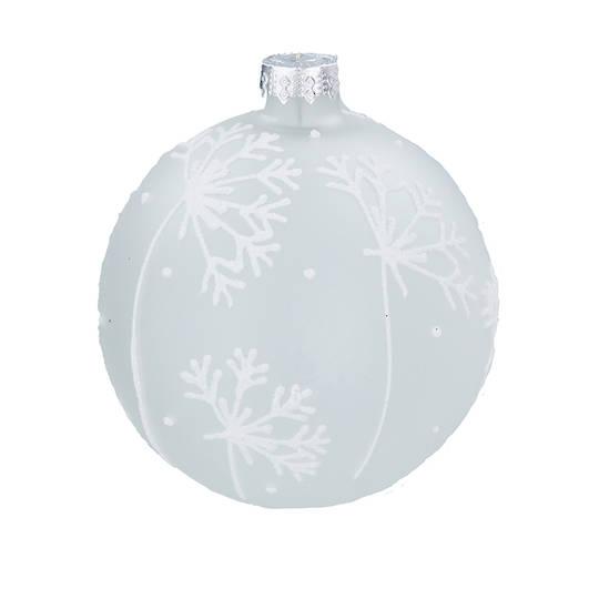 Glass Ball White, Snowflake 8cm