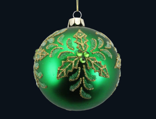 Glass Ball Matt Green, Gold Holly 8cm