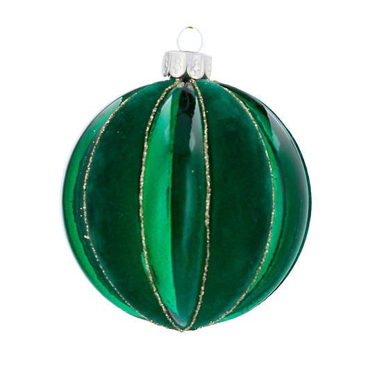 Glass Ball Green, Wide Rib 8cm