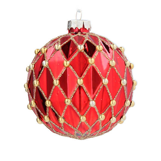 Glass Ball Red, Harlequin & Gold Bead 8cm