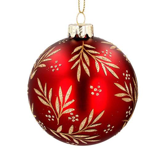 Glass Ball Red, Gold Leaf Spray 8cm