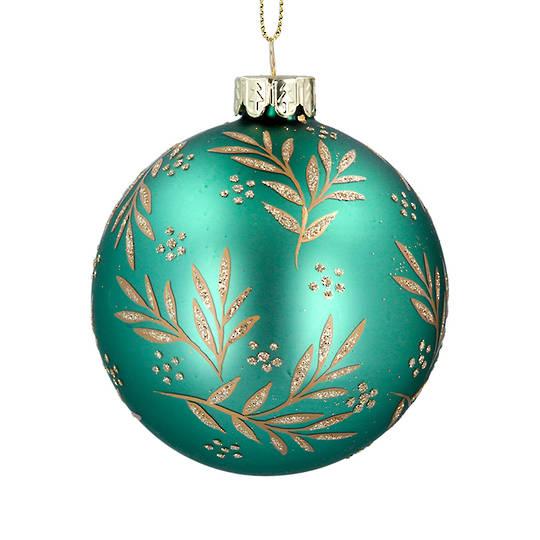 Glass Ball Green, Gold Leaf Spray 8cm