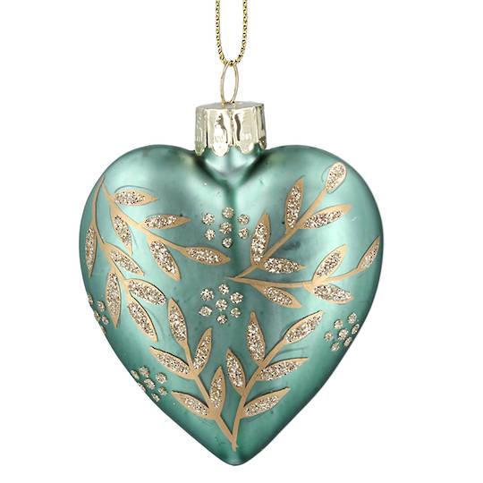 Glass Heart Green, Gold Leaf Spray 8cm