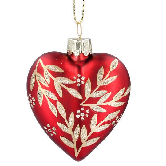Glass Heart Red, Gold Leaf Spray 8cm