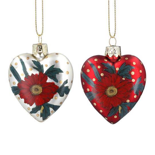 Glass Heart, Red Rose 8cm