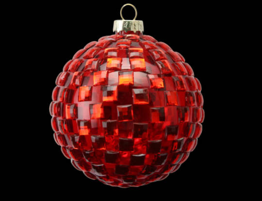 Glass Ball Red, Glass Red Check 8cm