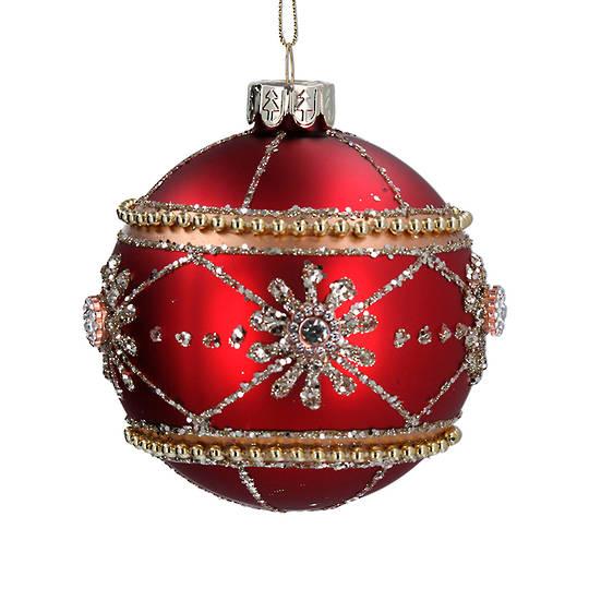 Glass Ball Matt Red, Metal Decor 8cm