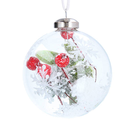 Glass Ball Clear, Red Berry Inside 8cm