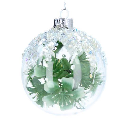 Glass Ball Clear, Green Rose Inside 8cm