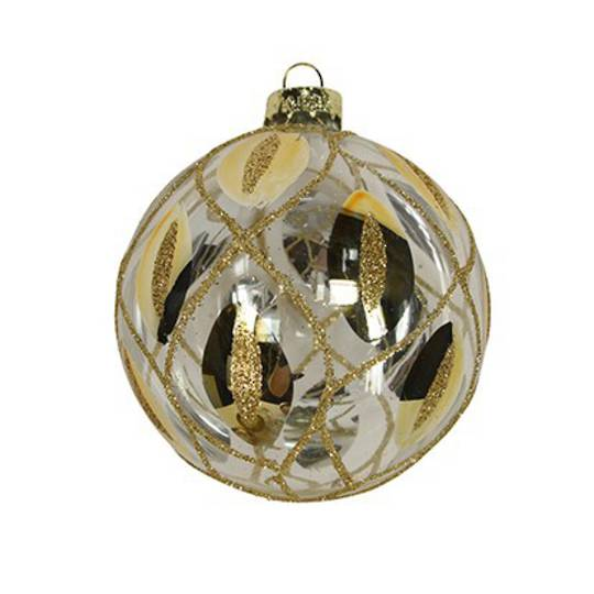 Glass Ball Clear, Gold Trellis 8cm