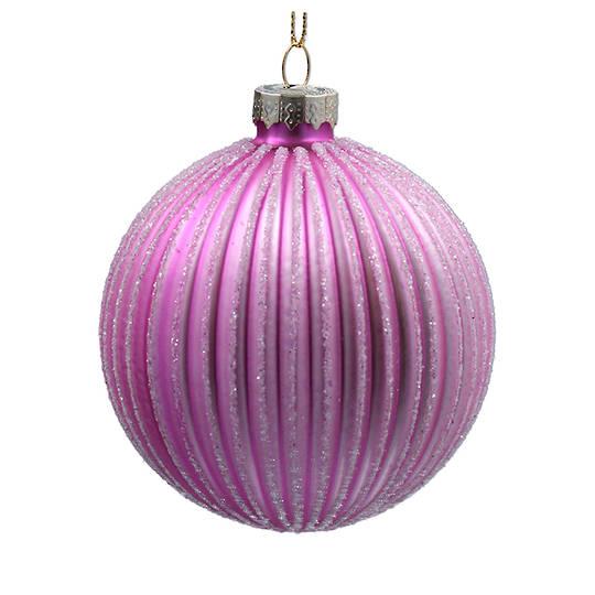 Glass Ball Matt Lilac, Glitter Ribs 8cm