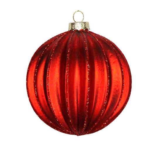 Glass Ball Matt Red, Wide Rib 8cm