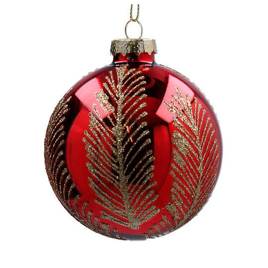 Glass Ball Red, Gold Palm Leaf 8cm