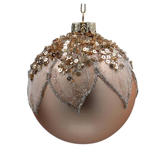 Glass Ball Matt Gold, Mesh Leaf 8cm