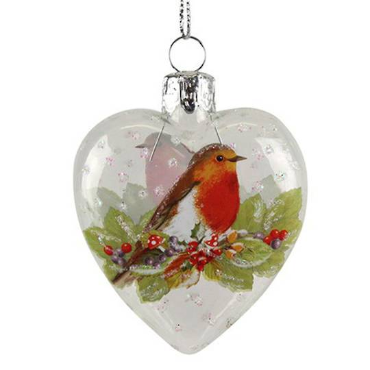 Glass Heart Clear, Robin 6cm