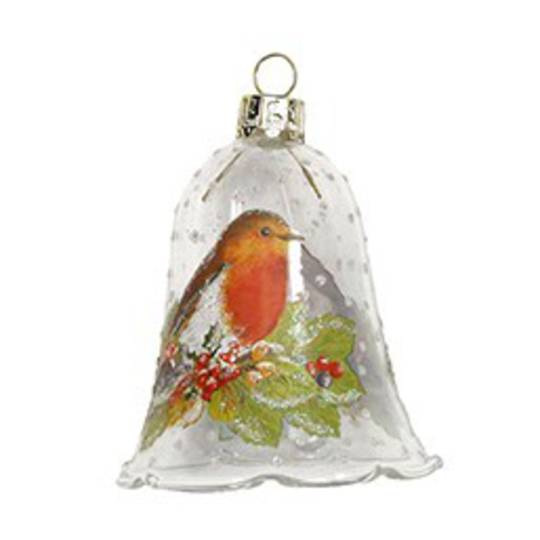 Glass Bell Clear, Robin 8cm