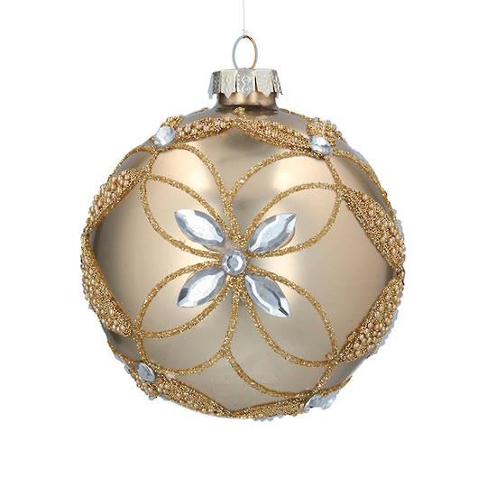 Glass Ball Matt Gold, Bead Diamond Flower 8cm