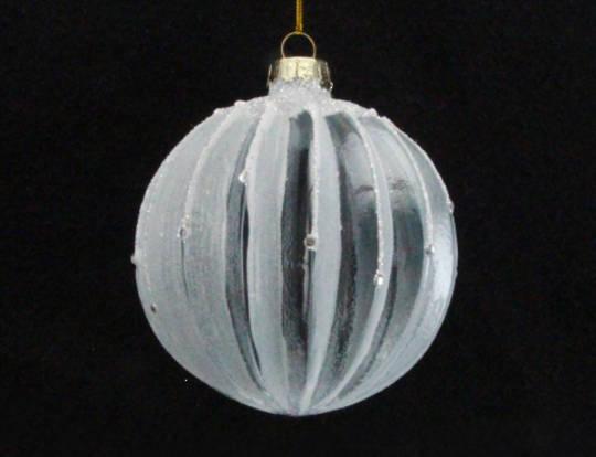 Glass Ball White Clear, Rib 8cm