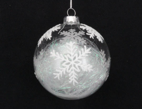 Glass Ball Clear, Snowflake with Threads Inside 8cm