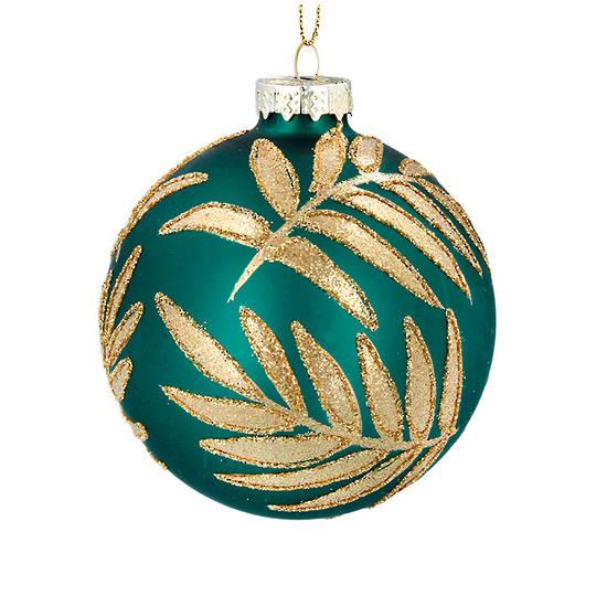 Glass Ball Green, Gold Palm Leaf 8cm